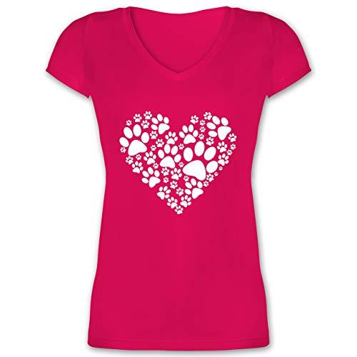 Statement Shirts - Pfoten Herz - L - Fuchsia - XO1525 - Damen T-Shirt mit V-Ausschnitt
