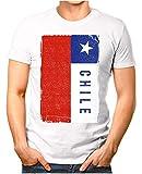 OM3® - Chile-Flag-Vintage - Herren T-Shirt | Südamerika Flagge Fussball Soccer Fanshirt Sport Trikot | Weiß XXL