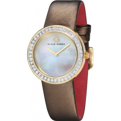 Klaus Kobec KK-10021-02 Ladies Penny Brown Leather Strap Watch with Crystal Bezel