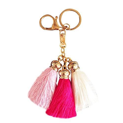 Schlüsselanhänger Taschenanhänger mit Seiden Quaste Handtasche Fell Anhänger Troddel Keychain Pusheng (Rose-Pink-Weiß) (Handtasche Seide)
