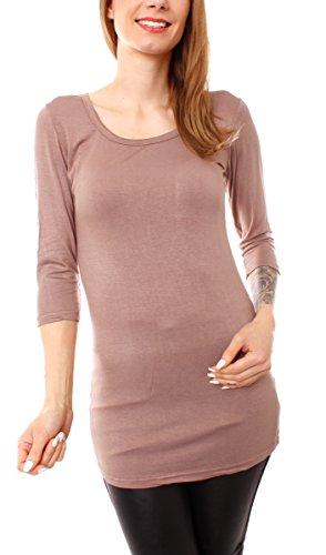 Damen Basic T-Shirt Top lang Longshirt Longsleeve Minikleid Halbarm Rundhals Hellbraun Nougat M/L - 38/40