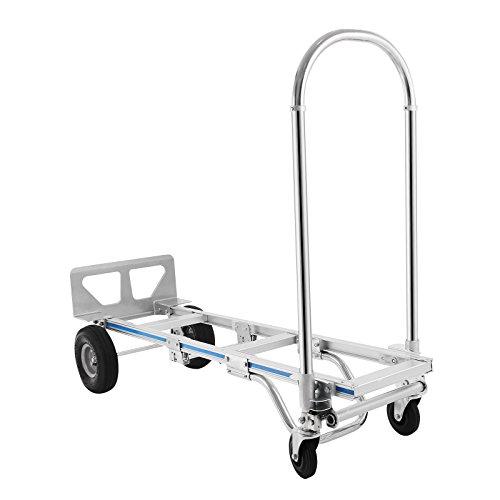 BuoQua 400KG Sackkarren 2 IN 1 Aluminium Treppenrutsche Klappbar Transportkarre Mit Kunststoff Rädern Stapelkarre