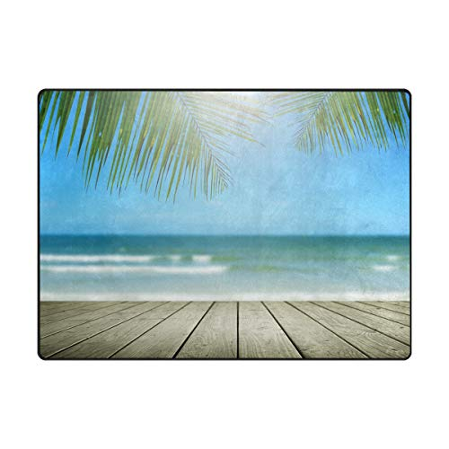 WowPrint Tropische Ocean Strand Palme Blatt Motiv Teppich Groß Weich Teppich Wohnzimmer Schlafzimmer Küche Home Kinderzimmer Decorator 160 x 121 cm - Ocean Blatt