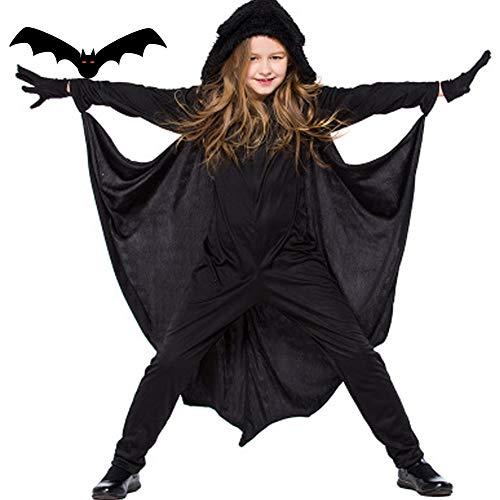 Kinder Halloween Kostüm Mädchen Jungen Kleider Black Fledermausflügel Ärmel mit Kapuze Cape Cosplay Partei Kostüm und Handschuhe (Halloween-kostüme Drei Mädchen Für)