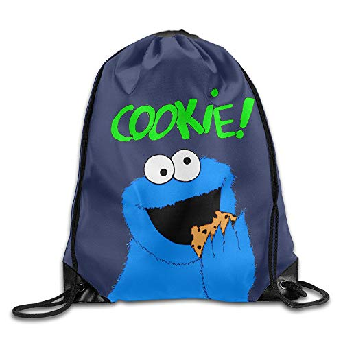DHNKW SAXON13 Unisex Fashion Sesame Street Cookie Drawstring Backpack 5 Sesame Street Cookie