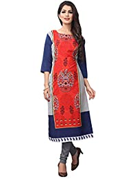 1 Stop Fashion Women's Multi Crepe Knee Long Straight Kurti