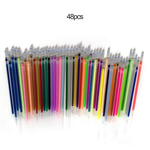 1.0mm Bunte Gelschreiber Fluorescent Refills Farbpatrone Blitz-Feder Glatte Tinten-Malerei Graffiti Pens Student Schreibwaren (48 Farben) - Farbpatrone Farbe