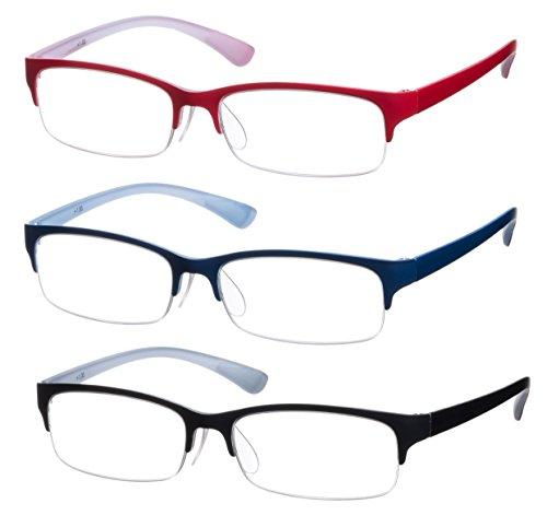 Lesebrillen im 3er-Set/Brillenform Rechteckig Brillengestell aus Kunststoff + 3.5