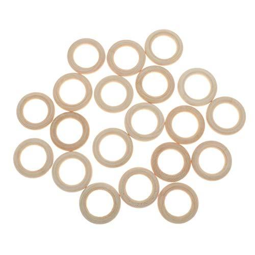 Nicedeal Annular Holzgliederringe, natürlich, blanko, runde Holzringe, Loop-Craft-Ringe, Anhänger, Charm-Verbindungsstücke, Schmuckherstellung, 20 Stück Schreibwaren, Bürobedarf, Bastelzubehör, -