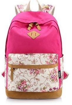 Imagen de icase4u® 2015 multi función moda  bolsa escolar tipo casual bonita de lona de viaje  de marcha para picnic para mujer o chica buena calidad flores rosa2  alternativa