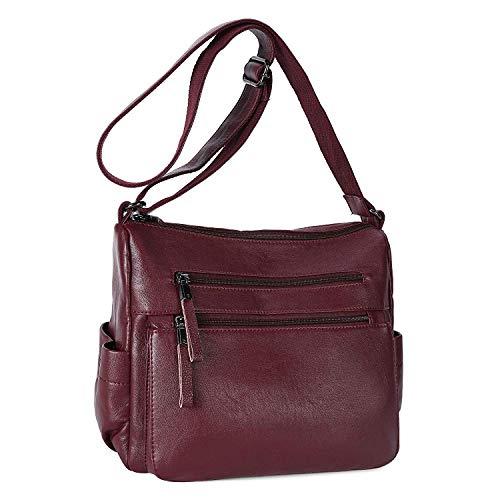 Damen Shopper Handtasche Leder Henkeltasche Designer Taschen Hobo Taschen - Rot (Guess-designer-kleidung)