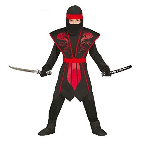Elegantes Ninja Kostüm Kinder rot schwarz mit schicker Rüstung für Jungen