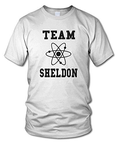 shirtloge - TEAM SHELDON - KULT - Fun T-Shirt - in verschiedenen Farben - Größe S - XXL Weiß (Schwarz)