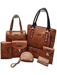8 Piece Combo Of Handbag, Set Of 8 Brown, Handbag,Duffel Bag,Shoulder Bag, Wallet, Pouch, Mobile Pouch Bag, Sling...
