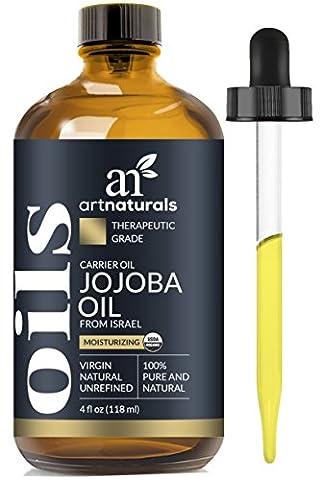 ArtNaturals Kaltgepresstes Organisches Feuchtigkeitsspendendes Jojobaöl - 120 ml - mit Bonus Set - Ideal als Massageöl oder Trägeröl - Ausgesprochen Hautverträglich