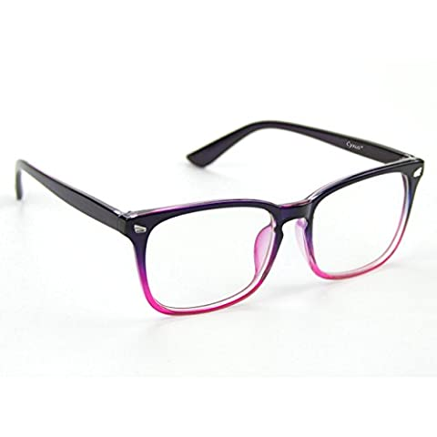Cyxus Anti Blue Light [Transparent Lens] Glasses, Relieving Eyestrain Headaches and Vision Falling Eyewear (Gradient Pink Frame)