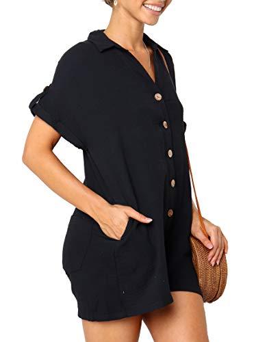 Ybenlover Damen V Ausschnitt Jumpsuits Shorts Kurzarm Knopf Oversized Sommer Hosenanzug mit Taschen - Schwarz Krepp Hose Anzug