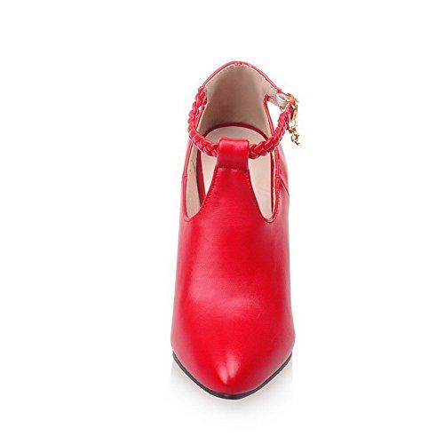VogueZone009 Damen Spitz Zehe Hoher Absatz Blend-Materialien Gestrickt Schnalle Pumps Schuhe Rot