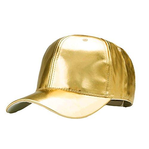 TUDUZ Snapback Cap Hip Hop Mütze Baseball Kappe für Herren und Damen Lackleder Einfarbig Adjustable Hut Straße Stil Baseball Caps(,Gold) -