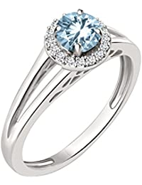 Silver Dew 925 Pure Silver CZ Diamond White Gold Plated Halo Round Ring For Women & Girls