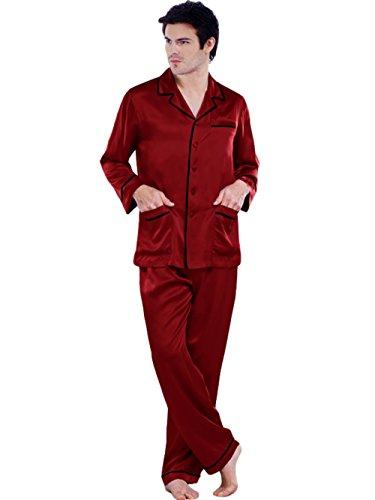 ELLESILK Herren Schlafanzug 100% 22 Momme Maulbeerseide, Zweiteilig Pyjama Lange Ärmel Weinrot/Schwarz