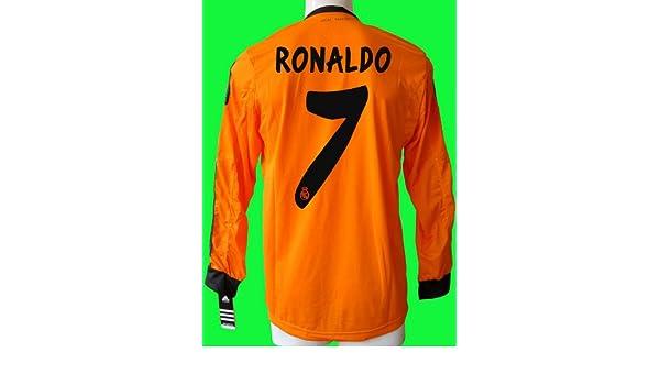 finest selection ccb59 8240e Ronaldo #7 LS Long Sleeve Real Madrid Away Orange LFP Patch ...