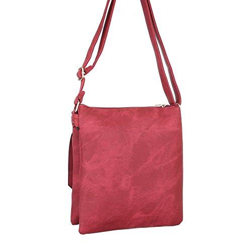 Damen Tasche, Schultertasche, Kleine Handtasche In Used Optik, Kunstleder, TA-B67 Rot