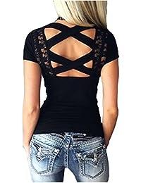 Jc.Kube Femmes Sexy Shirt tops En dentelle