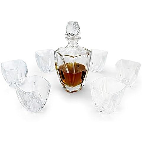 A.P. Donovan - Whisky caraffa in 7 pezzi - con la boccetta in vetro, decanter con 6 bicchieri (lavastoviglie), contenuto: 700ml - Globe