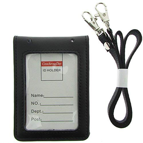 CMXSEVENDAY C68806 Faltender Echtleder-ID-Kartenhalter mit 2 ID-Fenstern, Vertikaler Stil - Schwarz