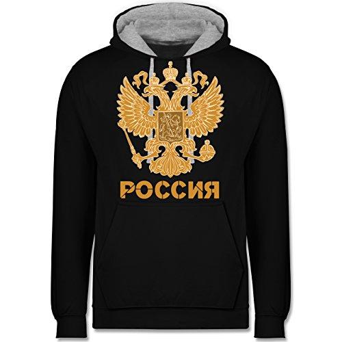 Länder - Russland Wappen hell - XS - Schwarz/Grau meliert - JH003 - Kontrast Hoodie (Pullover Hoodie Vatertag)