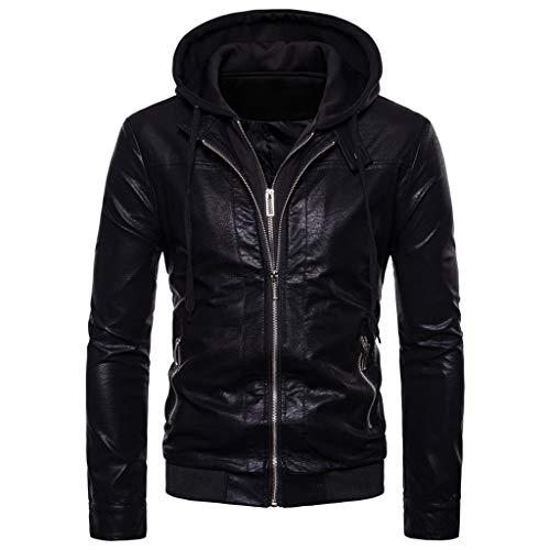 Elegante giacca da uomo in pelle casual a maniche lunghe color solido casual autunno e inverno vintage da motociclista da uomo pelle con disegno laterale e spalla giacca