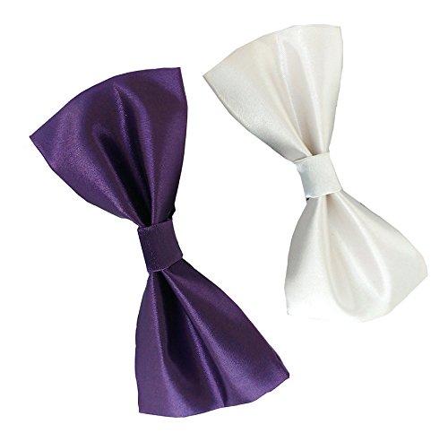 Sunshopping men's purple & White bow tie(WSDWSDB000378)