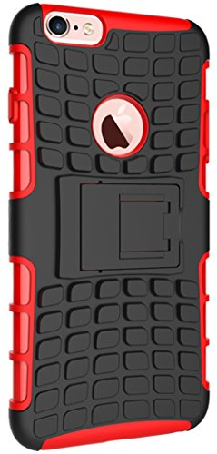 Apple Iphone 6 / 6S Hülle Nnopbeclik Hybrid 2in1 TPU+PC Schutzhülle Cover Case Silikon Rüstung Armor Dual Layer Muster Handytasche Backcover 360-Grad-Drehung ständer stoßfest Handy Hülle Tasche Schutz Schwarz+Rot