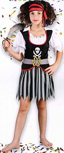 Coingallery Urban Kids Children Fancy Dress Up Costume Pirate Girl 120 cm - 130 cm (7 - 9 yrs)