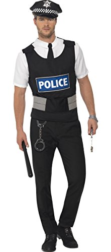 Herren sofort Polizei Polizist Uniform Cop Hirsch Do Emergancy Services Fancy Kleid Kostüm Outfit Kit (Hirsch Kostüm Outfit)