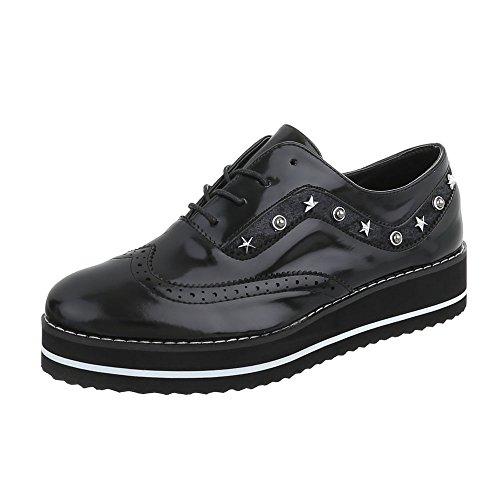 Ital-Design Schnürer Damen-Schuhe Schnürer Schnürer Schnürsenkel Halbschuhe Schwarz, Gr 38, Jn-137-