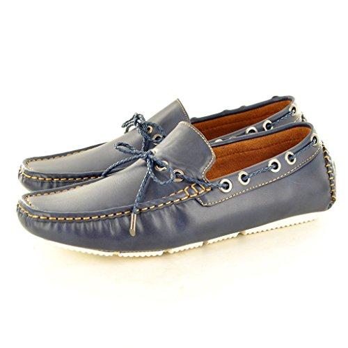 New Herren Leder Look Casual Loafer Mokassins Slip auf Schuhe mit Spitzen-Detail Marineblau