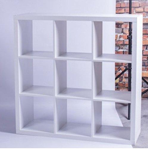 LOFT Regal mit 9 Fächern Bücherregal Wohnzimmer Schlafzimmer Lounge Cube Wandregal kombinierbar Weiß Schlafzimmer Bücherregal