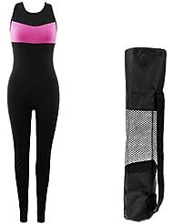 MagiDeal 1pc Mono Transpirable Ligero Elástico De Moda con 1x Bolsa de Estera de Gimnasio Yoga Ciclismo Correr Esquiar