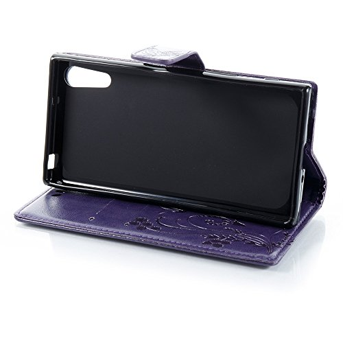 Solid Color Faux Leder Bookstyle Brieftasche Stand Case mit geprägten Blumen & Lanyard & Card Slots für Sony Xperia XZ ( Color : Black ) Purple