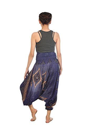 Lofbaz Damen Hippie Boho Hose 2 in 1 Haremshose & Jumpsuit Aladinhose Pumphose Floral 1 Blau