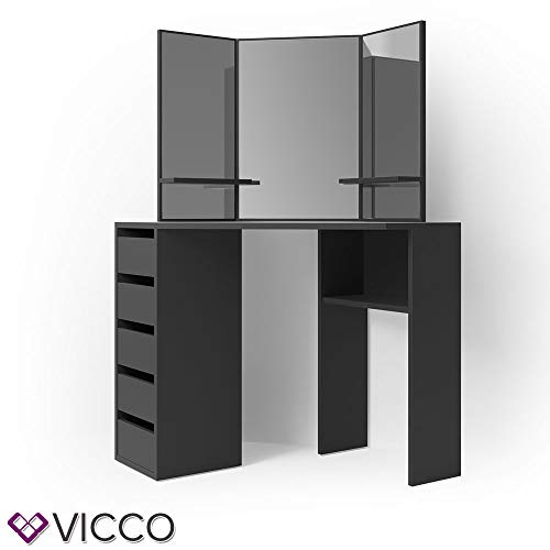 Vicco Eckschminktisch Arielle - Schminktisch Kosmetiktisch Frisierkommode Frisiertisch Schminkspiegel (mit LED, schwarz)