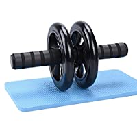 Ab Wheel Roller Abdominal Trainer with Knee mat (Black)