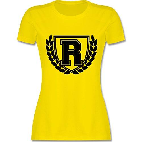 Anfangsbuchstaben - R Collegestyle - tailliertes Premium T-Shirt mit Rundhalsausschnitt für Damen Lemon Gelb
