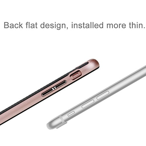 iPhone 8 Plus, 7 Plus Carbonfaser-Rüstungs-Etui, Rock® [Vision-Serie} - gebürstete Textur, Tropfenschutz, Anti-Kratzer, stoßfeste, schützende, harte Rückenabdeckung mit Schlittenloch - schwarz Rose Gold
