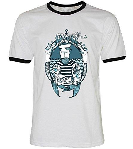 PALLAS Unisex's Beard Vintage Sailor T-Shirt WhiteBB