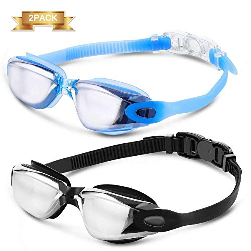 CAMTOA 2 Pack Schwimmbrille, Schwimmenbrille für Erwachsene mit verspiegelte Gläser, Schwimmen Brille mit Antibeschlag, Wasserdicht und UV Schutz, 180 ° Weitwinkel Klare Sicht, Ohrstöpsel & Nasenklammern Schwimmbrille für Frauen Männer