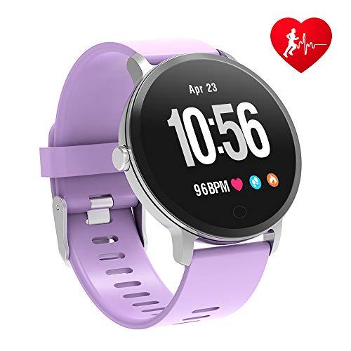 BingoFit Epic Smartwatch, Orologio Fitness Cardiofrequenzimetro da Polso Smart Watch Fitness Activity Tracker Pedometro Orologio Sport per Donna Uomo per Telefoni Android e iOS Porpora