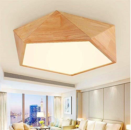 CHTG Einfaches Deckenlampe Holz Wohnzimmerlampe Schlafzimmerlampe LED dimmbar Deckenleuchte mit Fernbedienung Decken Licht Kreativ Kunst Geometrie Form Deckenbeleuchtung, Ø62*H13cm, 36W -